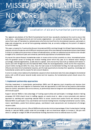 Missed Opportunities No More: An Agenda for Change ActionAid,CAFOD, Christian Aid, Oxfam, Tearfund (June 2015)