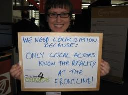 We Need Localisation because only local actors know the reality at the frontline, Lucy Pearson, GNDR, Bond Conference UK